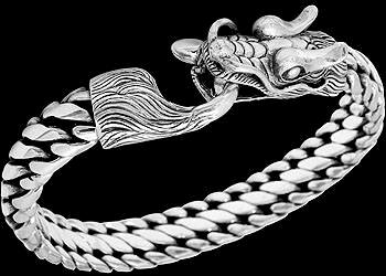 Gothic Jewelry - .925 Sterling Silver Bracelets Dragon 'Naga' Heads B1042 - Ornate Hook Clasp