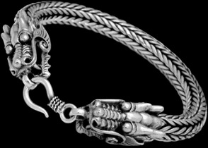 Mens Jewelry - Sterling Silver Bracelets Dragon 'Naga' Heads B1043 - Ornate Hook Clasp