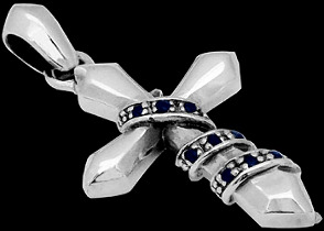 Religious Jewelry - Sapphire and .925 Sterling Silver Cross Pendants P331