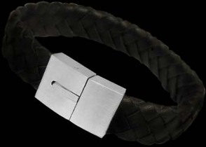 Men's Jewelry - Genuine Leather and 316L Stainless Steel Bracelets A009