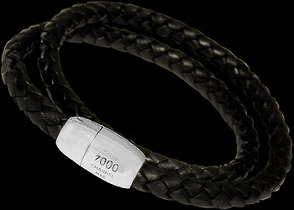 Men's Jewelry - Genuine Double Braided Leather and 316L Stainless Steel Bracelets BS377