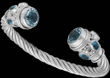Jewelry - Faceted Blue Topaz and Sterling Silver Cable Bracelets B500
