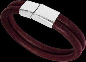 Men's Jewelry - Purple Leather and 316L Stainless Steel Bracelets BD14PUR