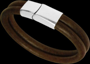 Men's Jewelry - Brown Leather and 316L Stainless Steel Bracelets BD14BR