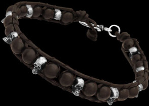 Genuine Black Leather and Sterling Silver Skulls and Black Onyx Gemstone Beaded Bracelets LBS005