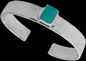 Gemstone Jewelry - Larimar and .925 Sterling Silver Cuff Bracelets B467rlar