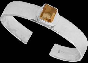 Gemstone Jewelry - Citrine and .925 Sterling Silver Cuff Bracelets B467cit