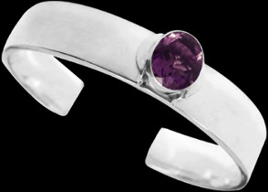 Gemstone Jewelry - Amethyst and .925 Sterling Silver Cuff Bracelets B467fam