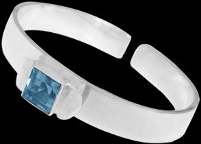 Gemstone Jewelry - Topaz and .925 Sterling Silver Cuff Bracelets B467ftp