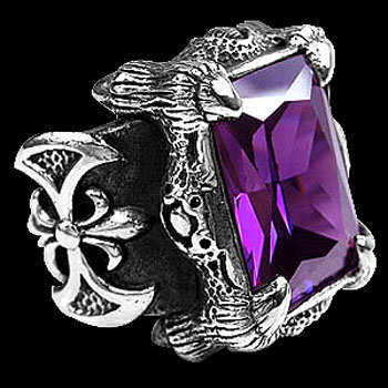 Gothic Jewellery - Amethyst Cubic Zirconia and .925 Sterling Silver Dragon Claw and Axe Ring R119PRL