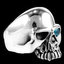Gothic Jewellery -  Blue Topaz and .925 Sterling Silver Skull Rings R25tp