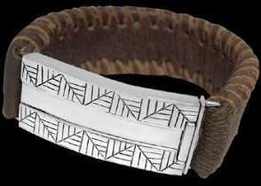 Genuine Brown Leather and Sterlin Silver Bracelets BR1236