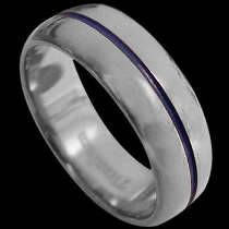 Titanium Jewelry - Titanium Ring with Blue Resin TT589
