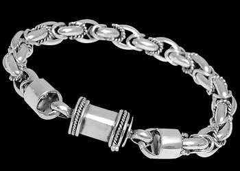 Mens Jewelry - Sterling Silver Bracelets B866B - Barrel Clasp - 8mm