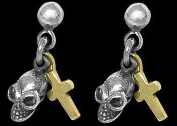 Sterling Silver Earrings E768-151 - .925 Dangle Stud Skull Earrings