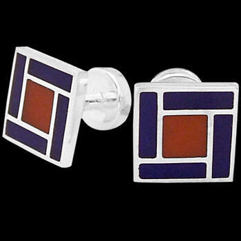 Men's Accessories - Blue Red Resin and Sterling Silver Cuff Links AZ514