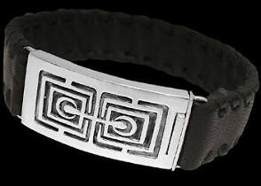 Genuine Black Leather and Sterling Silver Bracelets BR1242