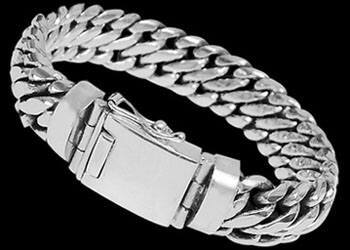Men's Jewelry - Sterling Silver Bracelets B463 - Security Clasp - 15mm