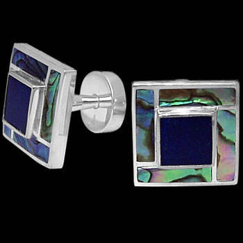 Grooms Jewelry - Lapis Lazuli Blue Mother of Pearl Paua Shell and Sterling Silver Cuff Links AZ510PALP
