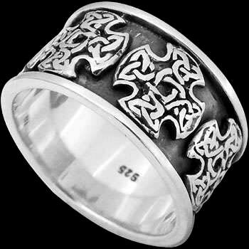 .925 Sterling Silver Rings R200 - Celtic Knott Cross Bands