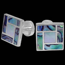 Grooms Jewelry - Mother of Pearl Blue Paua Shell and Sterling Silver Cuff Links AZ510BMOP