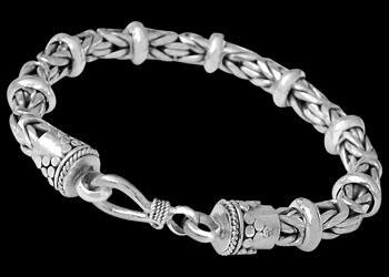 Sterling Silver Bracelets B676H - Hook Clasp - 6mm