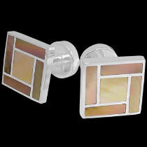 Grooms Jewelry - Mother of Pearl Sterling Silver Cuff Links AZ508MOP