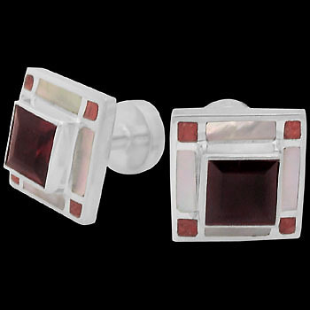 Grooms Jewelry - Garnet Red Coral Mother of Pearl and Sterling Silver Cuff Links AZ511GA