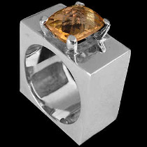 Men's Jewelry - Citrine and Sterling Silver Rings MR1114