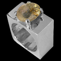 Men's Jewelry - Agate and Sterling Silver Rings MR1114