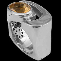 Men's Jewelry - Citrine and Sterling Silver Rings MR1178