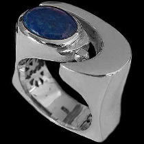Men's Jewelry - Lapis Lazuli and Sterling Silver Rings MR1178