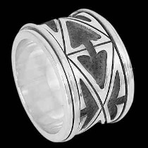 Plus Size Jewelry - Sterling Silver Rings AN200L - Spinning Bands