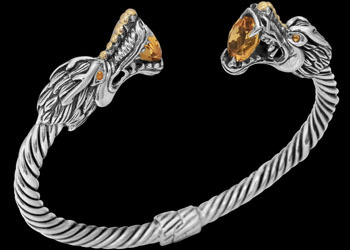 Gothic Jewelry - .925 Sterling Silver and Citrine Quartz 'The Protector' Dragon Cable Bracelets B5491 - 6mm