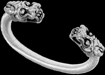 Gothic Jewelry - .925 Sterling Silver 'The Protector' Dragon Cable Bracelets B984b - 8mm