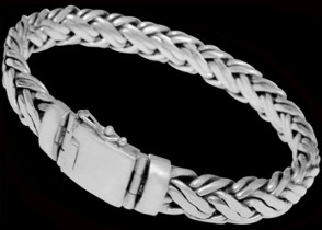 Mens Jewelry - Sterling Silver Bracelets B590B - Security Clasp - 12mm
