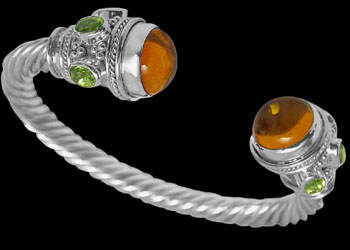 Plus Size Jewerly - Amber Peridot and Sterling Silver Cable Bracelets B500L