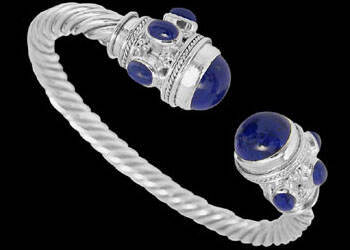 Plus Size Jewerly - Lapis Lazuli and Sterling Silver Cable Bracelets B500L