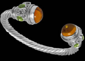 Grooms Gift - Amber Peridot and Sterling Silver Cable Bracelets B500