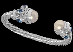 Plus Size Jewerly - White Pearl Topaz and Sterling Silver Cable Bracelets B500L