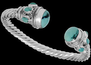 Plus Size Jewerly - Turquoise and Sterling Silver Cable Bracelets B500L
