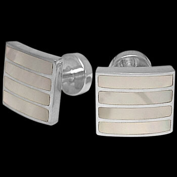 Grooms Jewelry - Mother of Pearl and Sterling Silver Cuff Links AZ407MOP