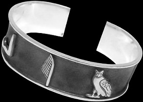 Groomsmens Gift - .925 Sterling Silver Cuff Bracelets Egyptian Symbols