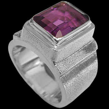 Men's Jewelry - Dark Amethyst and Sterling Silver Rings MR20BD - Rough Finish