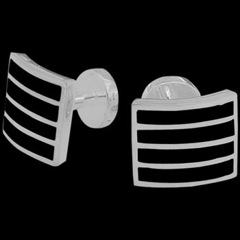 Grooms Jewelry - Black Resin and Sterling Silver Cuff Links AZ407BLK