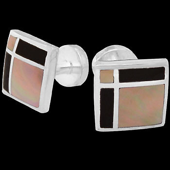 Grooms Jewelry - Mother of Pearl Black Resin and Sterling Silver Cuff Links AZ452MP
