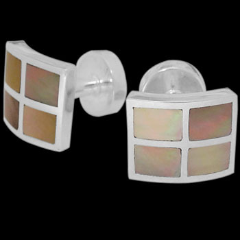 Grooms Jewelry - Mother of Pearl and Sterling Silver Cuff Links AZ500MP