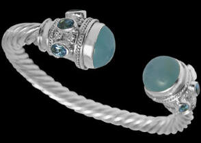 Plus Size Jewerly - Blue Chalcedony Faceted Blue Topaz and Sterling Silver Cable Bracelets B500L