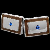 Titanium Jewelry - Titanium Topaz Cubic Zirconia Brown Resin Cufflinks TC1020