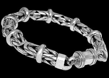 Sterling Silver Bracelets B676B - Barrel Clasp - 10mm